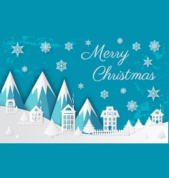 merry christmas paper cut mountains and city vector image