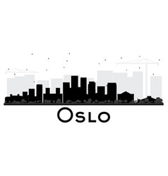 oslo norway skyline black and white silhouette vector image