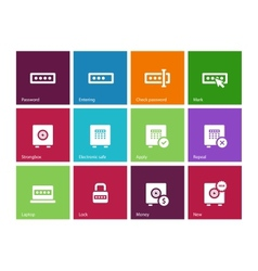 Password icons on color background vector