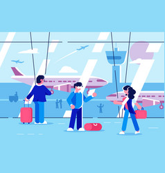 people at airport terminal vector image