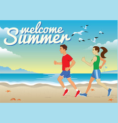 people jogging at beach bar vector image