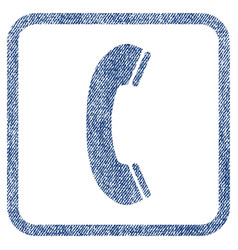 Phone receiver fabric textured icon vector