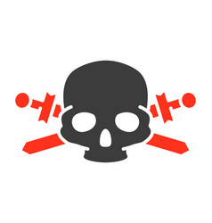 pirate skull with crossed swords colored icon vector image