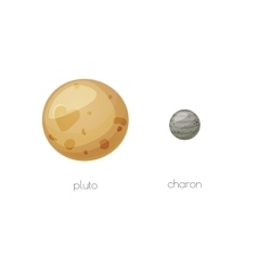 Pluto and its moon Charon space objects vector