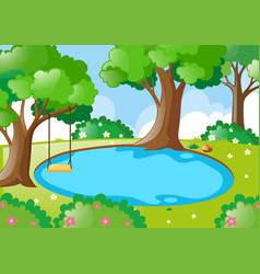 Pond in the forest vector