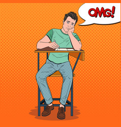 Pop art exhausted student sitting on the desk vector