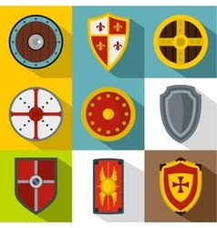 Protective shield icons set flat style vector