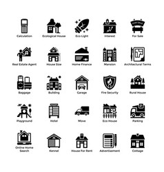 Real estate glyph icons 6 vector