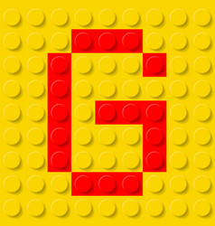 red letter g in yellow plastic construction kit vector image