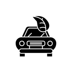 retro car black icon sign on isolated vector image