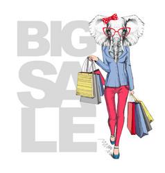 retro hipster animal elephant big sale vector image