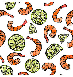 Seafood seamless pattern shrimp or prawn and lime vector