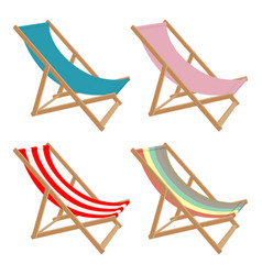 Set deck chair different colors on a white vector