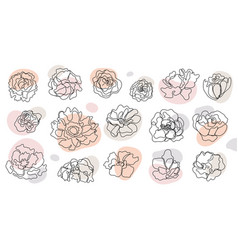 set hand drawn single continuous line vector image