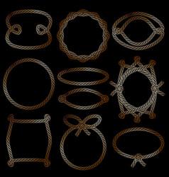 set of golden marine rope frames vector image