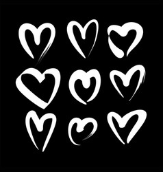 set of white hand drawn heart vector image