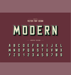 Shadow and line font alphabet modern typeface vector