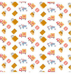 shopping icons seamless pattern international vector image