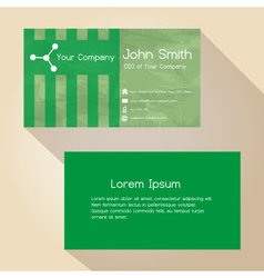 Simple abstract green paper color business card vector