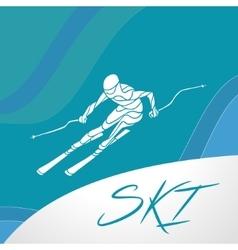 Ski downhill creative silhouette vector image