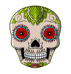 sugar skull head mascot logo vector image