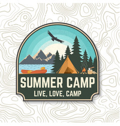 Summer camp concept for patch print vector