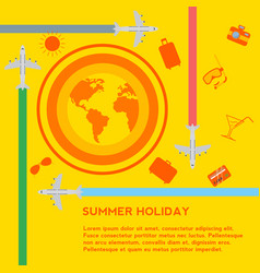 summer holiday concept travel icons vector image