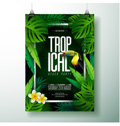 Summer tropical beach party flyer design vector