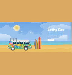 surfing van on sandy beach surfboard sea vector image