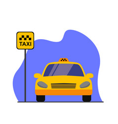 Taxi service concept taxi car parking with road vector