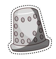 Thimble tool character comic icon vector