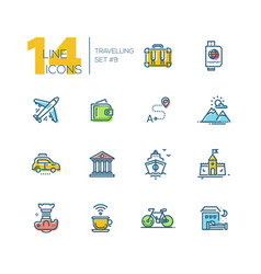 Traveling - thick line icons set vector