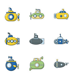 underwater vessel icons set cartoon style vector image
