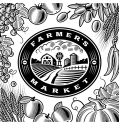 Vintage Farmers Market Label Black And White vector