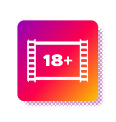 White play video with inscription 18 plus icon vector