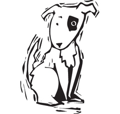 Woodcut Spot Dog vector
