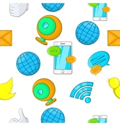 Communication over internet pattern cartoon style vector