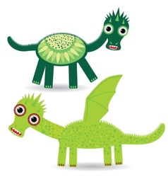 Funny green dragon on a white background vector image vector image