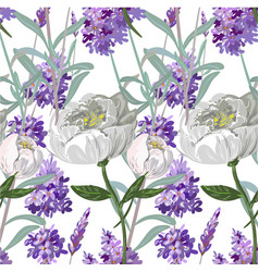 lavender and peony seamless pattern vector image vector image