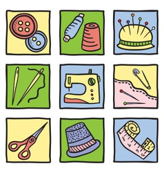 Sewing stuff and tools vector image vector image