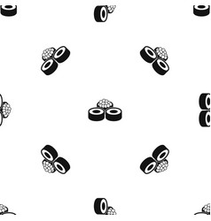 sushi pattern seamless black vector image