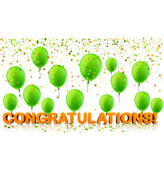 congratulations background with balloons and vector image