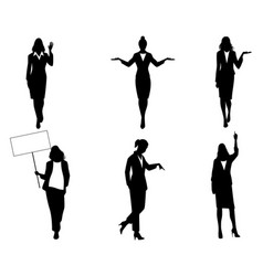 silhouettes of businesswomen in action vector image