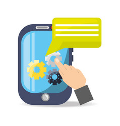 smartphone with chat bubble and gear vector image