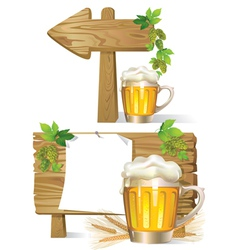 Beer wooden board sign vector image