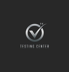 Check mark logo silver testing software or web app vector image