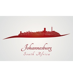 Johannesburg skyline in red vector image