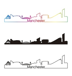 Manchester skyline linear style with rainbow vector image vector image