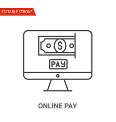 online pay icon thin line vector image vector image