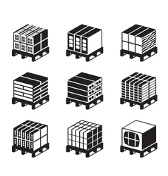 Pallets with bricks and concrete blocks vector image vector image